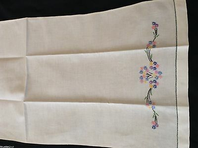 NICE UNUSED Vintage HAND TEA  TOWEL  Embroidered Flowers Openwork Hems 35x17 in