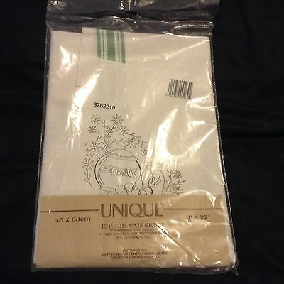 "NWT NIP COTTON/LINEN TEA TOWEL for you to EMBROIDER 18x27"" green stripes"