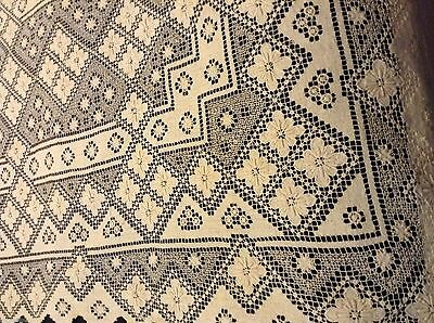 So Pretty! Vtg NETTED TABLECLOTH 59x43in No Holes A Few Unclipped Threads