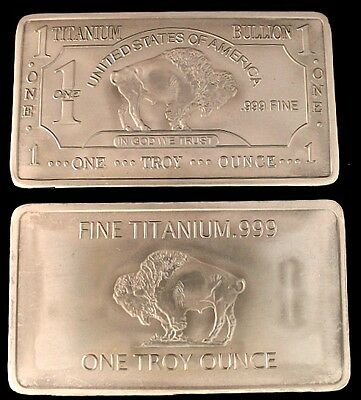 1 Oz TITANIUM BUFFALO BAR .999 PURITY FINE