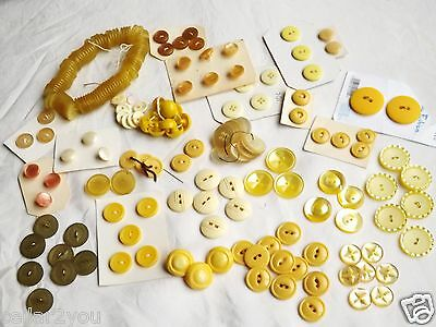 200 Vintage Buttons Yellow Set and/on Cards Lot