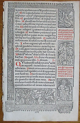 Book of Hours Leaf Hardouin Woodcut Border Apocalypse Beast Jesus Lamb - 1510