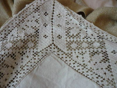 "Large Vintage Heavy Linen and Lace Tablecloth W54"" L54"""