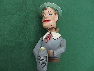 Vintage Articulated Man With Hat Wine Bottle Stopper