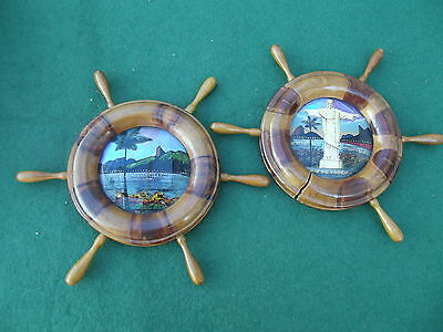 Two Vintage Brazilian Butterfly Display Plaques 20.5 Cm Diameter