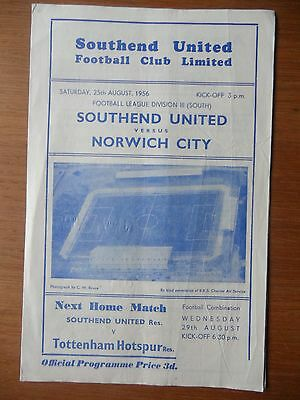 SOUTHEND UNITED v NORWICH CITY 1956-1957 Division 3 South