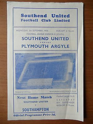 SOUTHEND UNITED v PLYMOUTH ARGYLE 1956-1957 Division 3 South