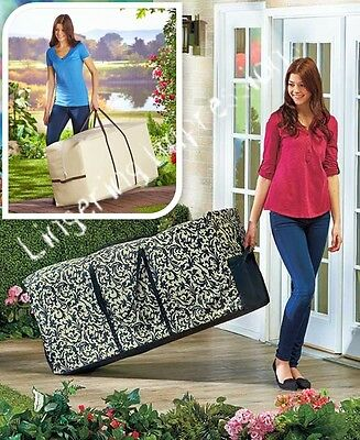 Damask Natural Outdoor Cushion Storage Bag Container Rolling Box Pool Zippered