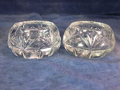 Vintage Pair Of Cut Crystal Glass Salts - Early 20th C [9929]