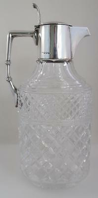 Large Heavy Birmingham 1915 Solid Silver Topped Cut Glass Claret Jug