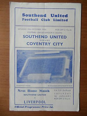 SOUTHEND UNITED v COVENTRY CITY 1956-1957 Division 3 South