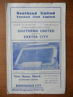 SOUTHEND UNITED v EXETER CITY 1956-1957 Division 3 South