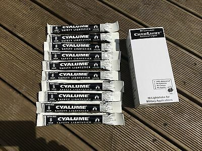 Cyalume Chemlight INFRA RED Glow Sticks Pack Of Ten Tactical Military Grade 6""