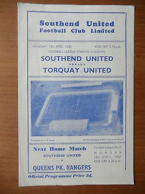 SOUTHEND UNITED v TORQUAY UNITED 1956-1957 Division 3 South