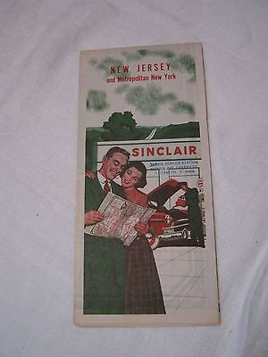 Vintage 1950's? Sinclair Map Of New Jersey / New York