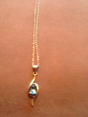 Ladies necklace genuine  White gold  22cms with Topaz drop pendant