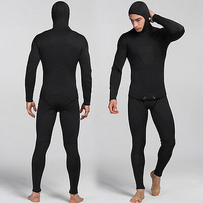 New Black 3MM 2 Piece Full Body Hooded Wetsuit Attached Hood Surf SCUBA Diving