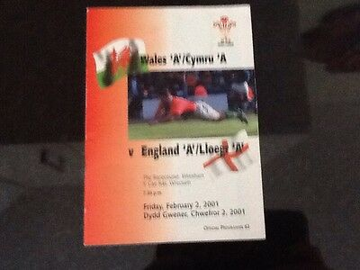 Wales A v England A Rugby programme 2001