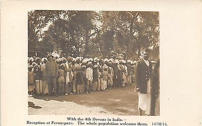 POSTCARD  MILITARY   4th  DEVONS   INDIA  1914  Reception  at  Ferozepore  RP