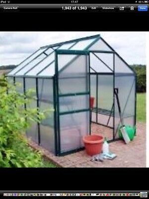 8 X 6 Polycarbonate / Aluminium Greenhouse + Base **BRAND NEW**