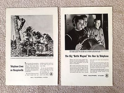 Bell Telephone WWII Magazine Ad - 2 Vintage B/W Ads