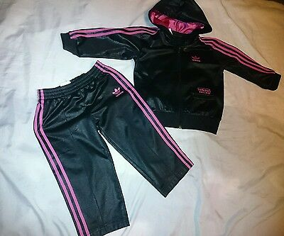 Adidas black pink tracksuit for girls size 2 years