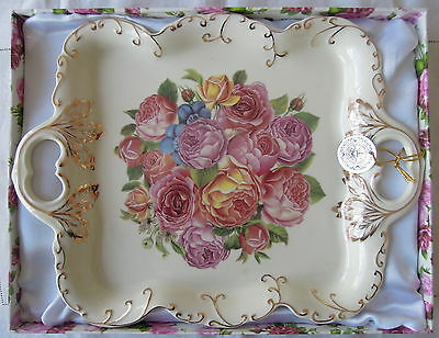 Unused Two Handled Tray by Bona Ceramics with Gold Gilding  Roses Pattern Box