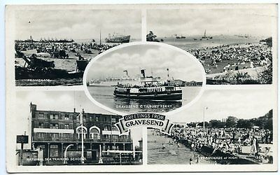 """GRAVESEND, Real Photo, """"Greetings from Gravesend"""", Ferry, Sea Training School"""