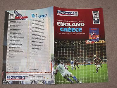 England v Greece 06/10/2001 World Cup Qualifier Football Programme