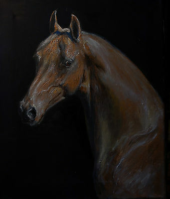 ORIGINAL OIL PAINTING of  a HORSE  PAINTED IN GOLD PAINT