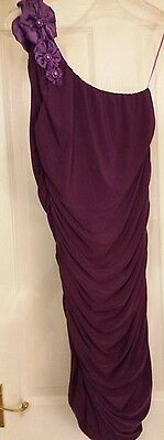 Ladies Purple Off The Shoulder Evening Party Dress M/l Size 10.