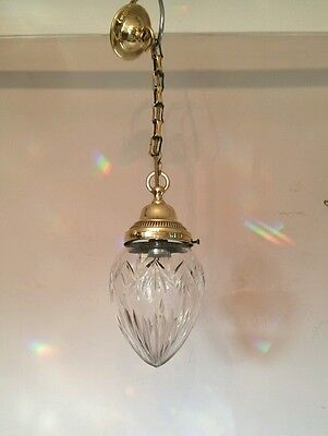 Antique c1910 Pineapple Cut Crystal Ceiling Light Original Gallery. Rewired.