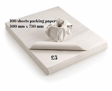 100 Sheets of White Newspaper Off Cuts Packing Paper