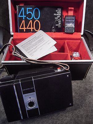Vintage Polaroid 450 Land Camera With Case Flash & Bulbs