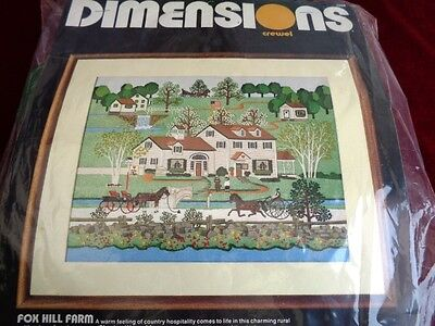 Vintage 1984 Dimensions Crewel Embroidery Kit 'fox Hill Farm' With Some Wool