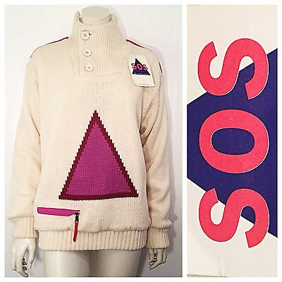 Vintage SOS 80s 90s PINK triangle chunky snowboard ski sweater Men's S UNISEX M