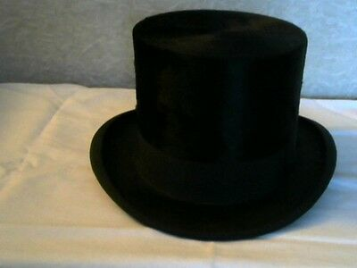 Vintage Silk Plush Black Stove Pipe - Top Hat Size 7 1/8 In Box & Extras