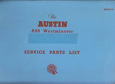 Austin A99 A110 Westminster Incl Police Versions 1959-62 Factory Parts Catalogue