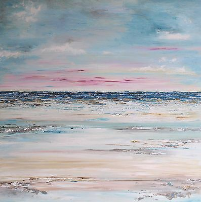 ORIGINAL XL SEASCAPE LARGE MODERN ABSTRACT ACRYLIC KNIFE PAINTING 90x90cm canvas