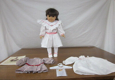 American Girl Samantha Pleasant Co Doll Meet Tea Dress Party Slippers Nightgown
