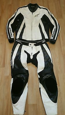Mens *alpinestars* Black & White Two Piece Leathers Motorcycle Jacket Trousers