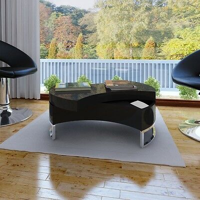 New Modern Black Coffee Table Side Swivel Office Kitchen Furniture High Gloss