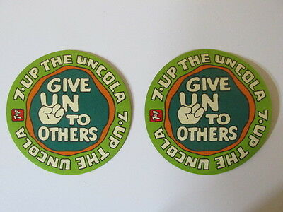 (2) Vintage 7up The Uncola Stickers Decals Give UNto Others NOS