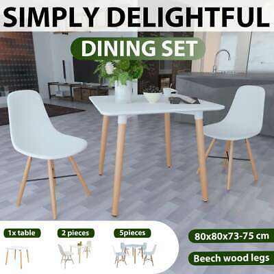 Retro Dining Table Square 0/2/4 Chairs Set White Wooden Legs Kitchen Cafe
