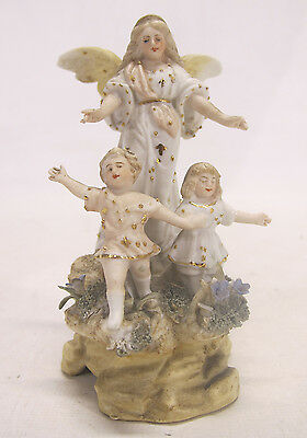 Antique Victorian German Bisque Porcelain Gilded Angel & Children Figurine yqz