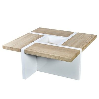 Modern High Gloss Oak/White Coffee Table Side Bedside Office Kitchen Furniture