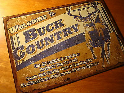 WELCOME TO BUCK COUNTRY Rustic Deer Hunting Lodge Sign Hunter Cabin Wall Decor