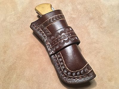 Custom Leather Knife Sheath made out of 10 oz Buffalo Leather Hide for Buck 110