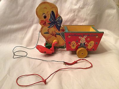 Vintage Animated Fisher Price Wooden Walking Duck Cart #305
