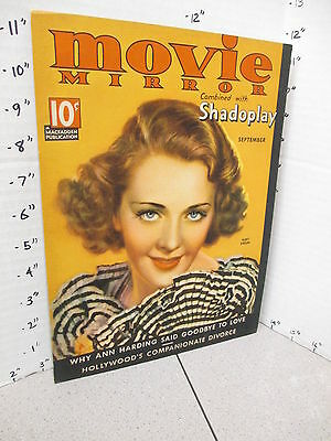 MOVIE MIRROR 1930s magazine store display sign poster actress RUBY KEELER